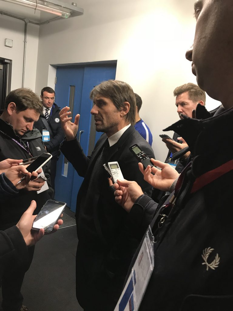 Antonio Conte talks to journalists after Chelsea's 1-0 defeat to West Ham Photo: Paul Lagan