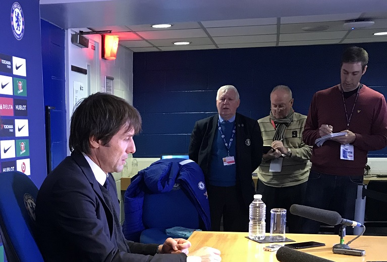 Antonio Conte faced the press after the 3-1 victory over Newcastle United on Saturday.                Photo: Paul Lagan