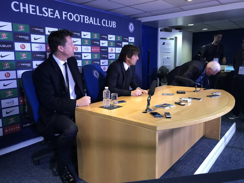 Antonio Conte after the 0-0 draw with Arsenal Photo by Paul Lagan