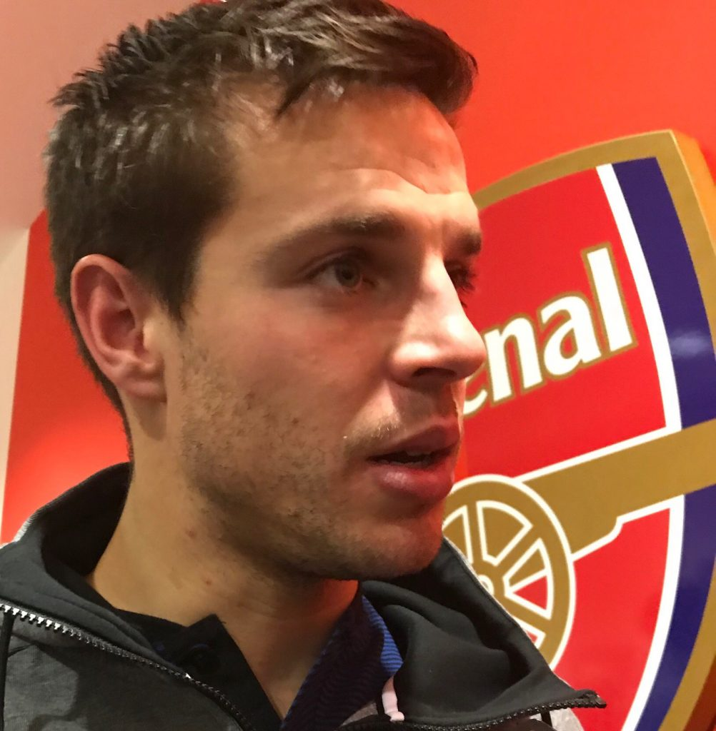 Cesar Azpilicueta speaking after Carabao Cup defeat to Arsenal on January 24. Photo by Paul Lagan