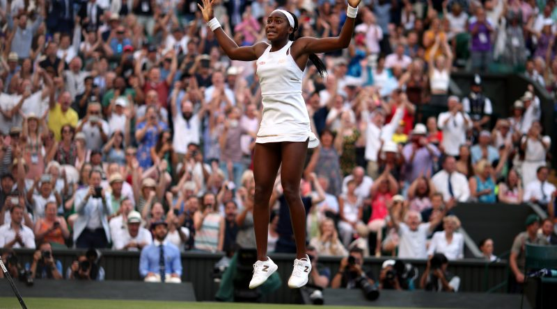 Cori Gauff celebrates beating Polona Hercog on day five of the Wimbledon Championships