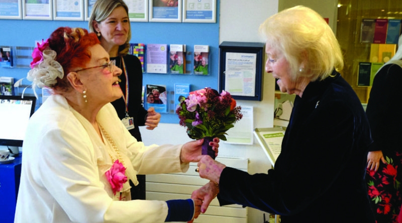 Shirley McDonald presents HRH Princess Alexandra flowers at St Christopher`s Hospice in Sydenham