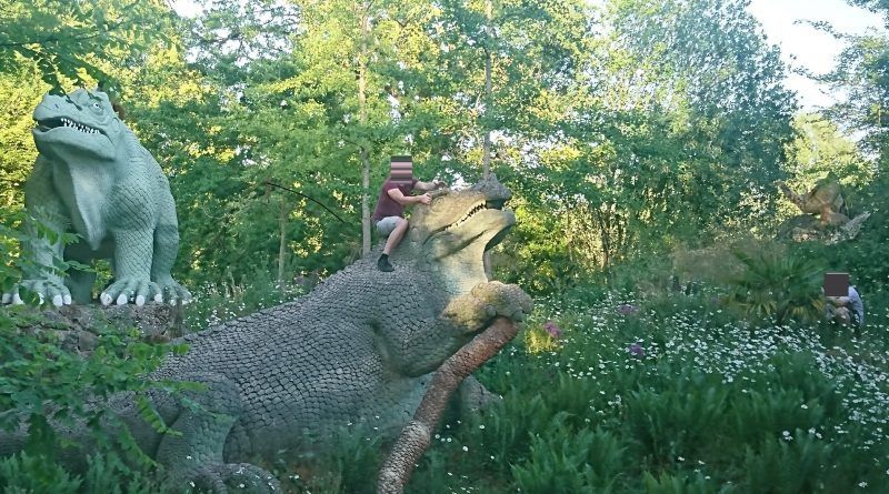Louts seen clambering over Grade I-listed dinosaur statues – and taking pictures
