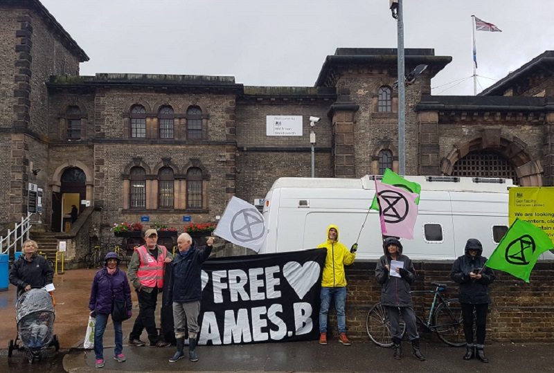 Samba band protests at jailing of climate activist at Wandsworth prison